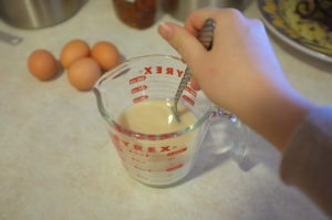 Adding the bourbon to the buttermilk