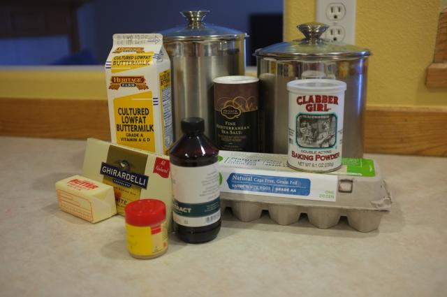 Ingredients (Minus the rhubarb and carmel ingredients)