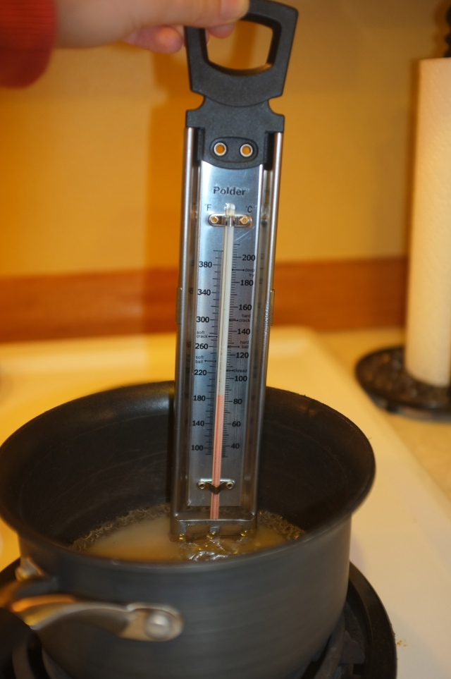 my candy thermometer is a little bit huge for that pot