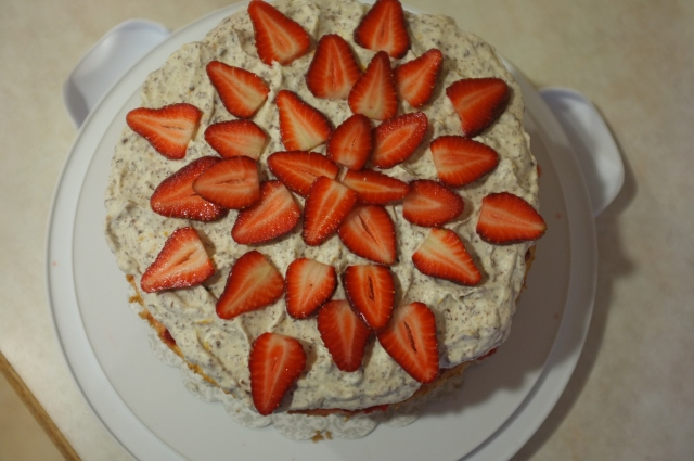All topped with fresh sliced organic strawberries. They were perfectly ripe and I enjoyed the extras this morning with breakfast.