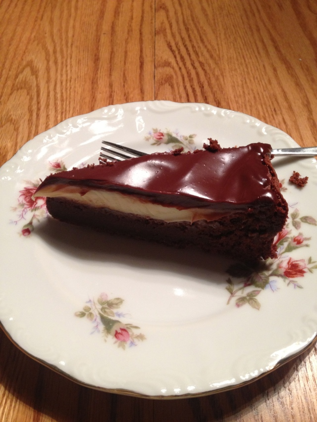 My slice. :) tasted JUST like a giant peppermint patty, was very delicious.