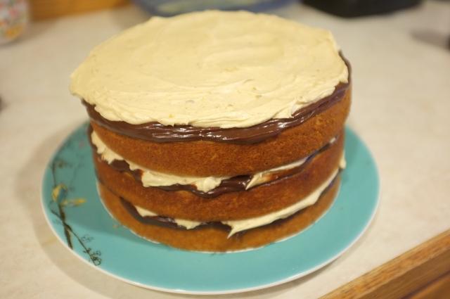 Cake, ganache, then pb frosting.