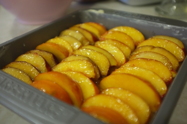 Nectarines placed on top