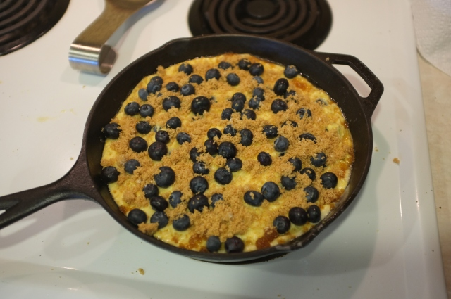 With the remaining blueberries and brown sugar sprinkled on top: oven-ready