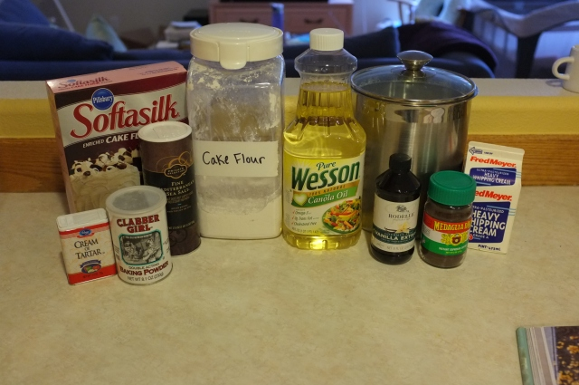 ingredients minus eggs (which were getting up to room temperature in a water bath