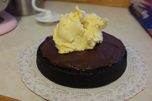 After firming up the ganache in the fridge, some butter cream.