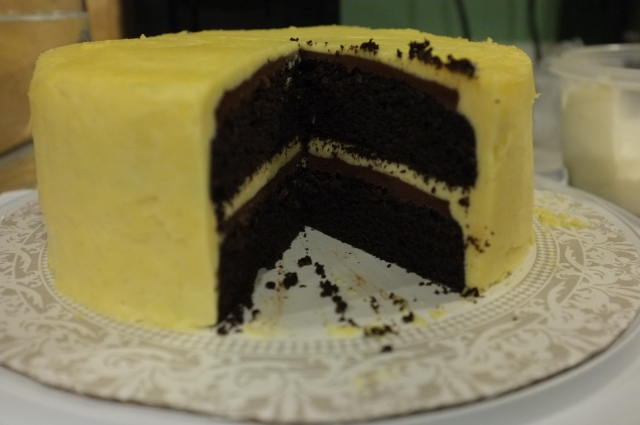 Cut into. Perfect cake to cut into