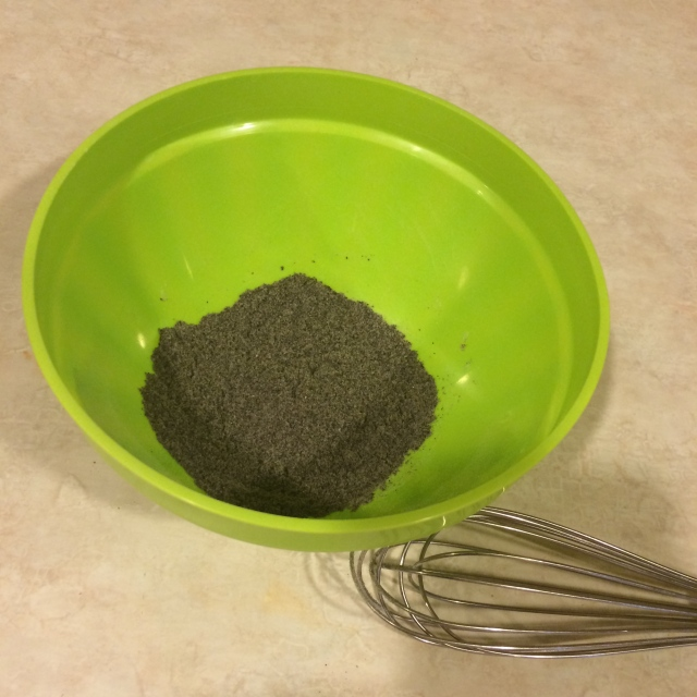 Baking soda and finely ground coffee beans
