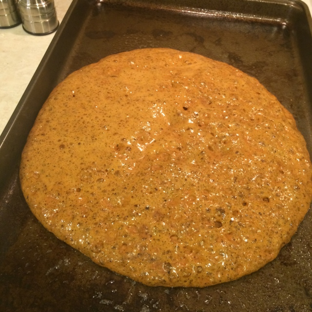 Poured straight onto a greased pan once it was at the right temperature