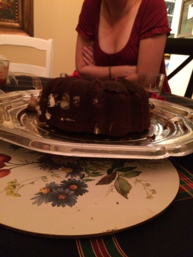 side view of the half-eaten cake