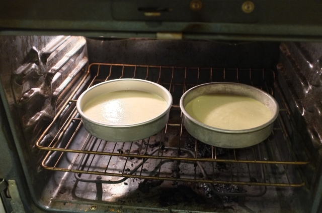 Into the pans and oven!