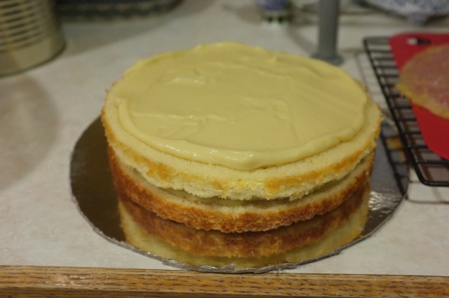 After adding the custard to the 2nd layer