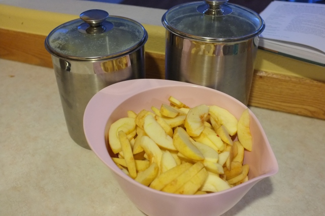 sugar and flour to mix with the apple slices