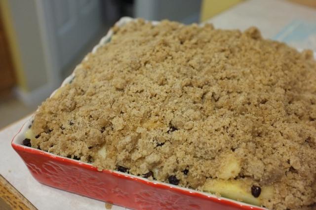 Crisp, sprinkled on top of the apples/currants